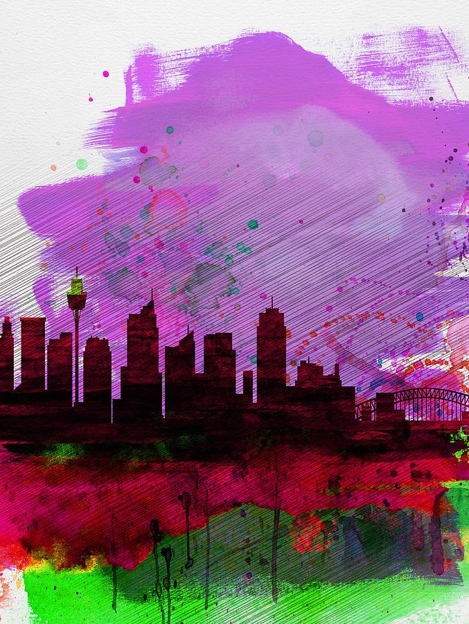 Sydney Painting - Sydney Watercolor Skyline 2 by Naxart Studio