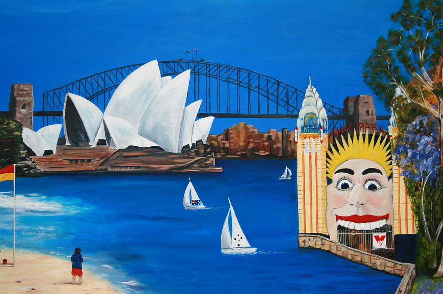 Sydney Painting - Sydneyscape - Featuring Luna Park  by Lyndsey Hatchwell