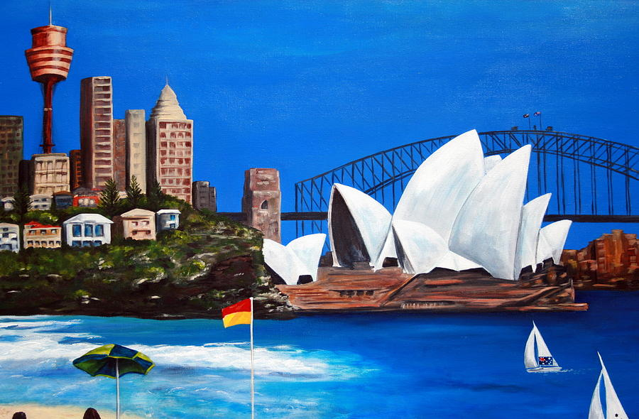 Sydney Painting - Sydneyscape - Featuring Opera House by Lyndsey Hatchwell