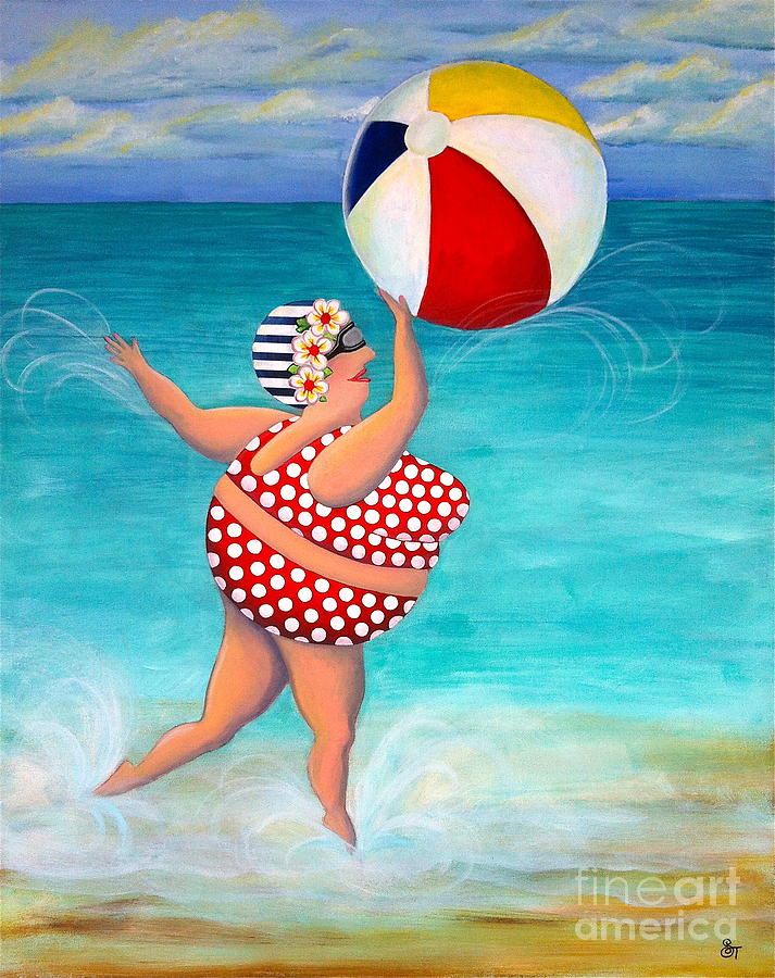 Bathing Beauty Painting - Sylvia At The Beach by Stephanie Troxell