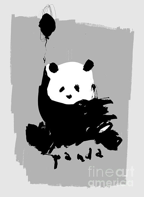 Small Digital Art - Symbolic Image Of A Panda On A Gray by Dmitriip