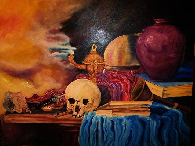 Skull Painting - Symbolism by Kendra Sorum