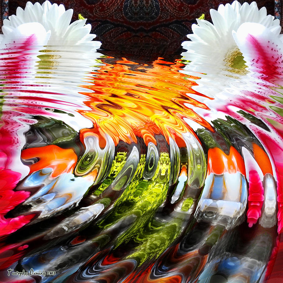 Original Works Signed Numbering Limit Canvas Digital Art - Symmetric Still Life. Flowers In The Water. 2013 80/80 Cm.  by Tautvydas Davainis