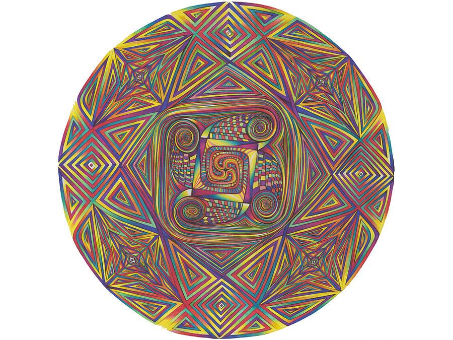 Mandala Drawing - Symmetry Four by diNo