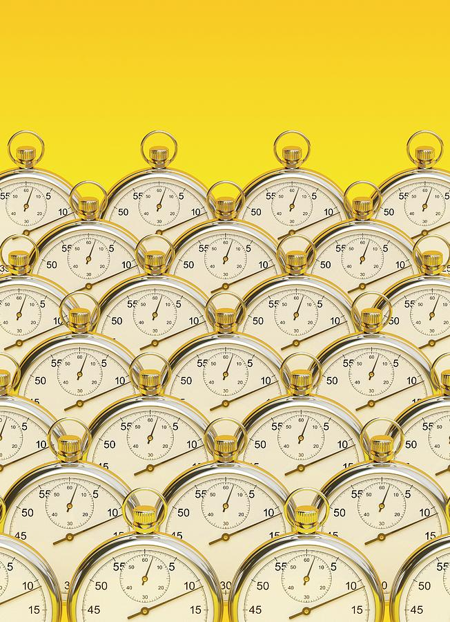Artwork Photograph - Synchronised Stopwatches by David Parker