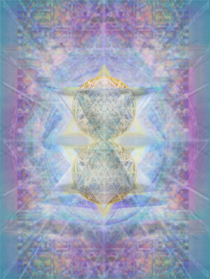 3d Digital Art - Synthecentered Doublestar Chalice In Blueaurayed Multivortexes On Tapestry Lg by Christopher Pringer