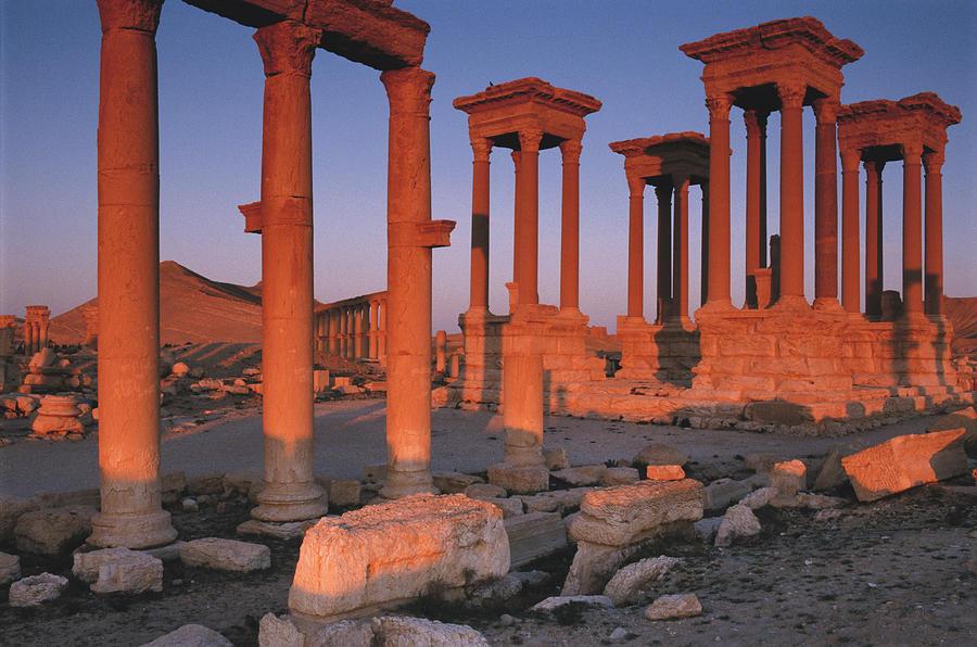 Ancient Photograph - Syria, The Great Tetra Pylon At Palmyra by Steve Roxbury