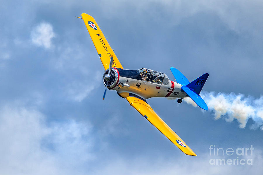 Clouds Photograph - T-6 Texan Flying by Jerry Fornarotto