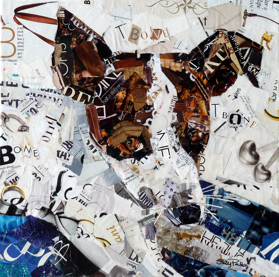 Torn Paper Collage Painting - T-bone by Suzy Pal Powell