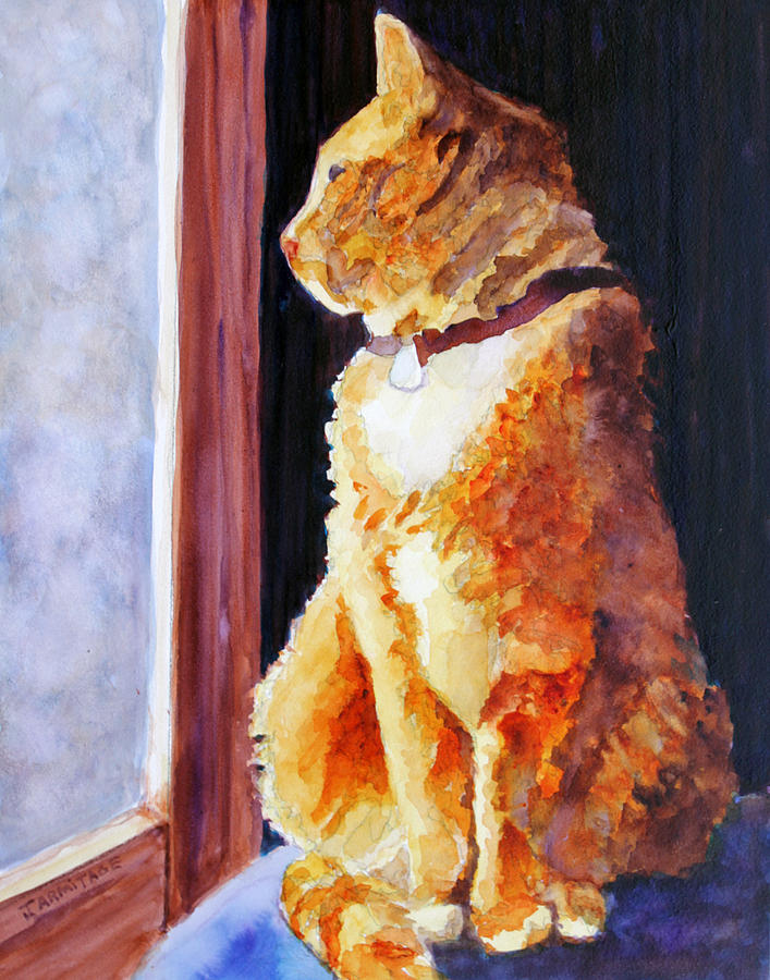 Cat Painting - Tabbys Favorite Seat by Jenny Armitage