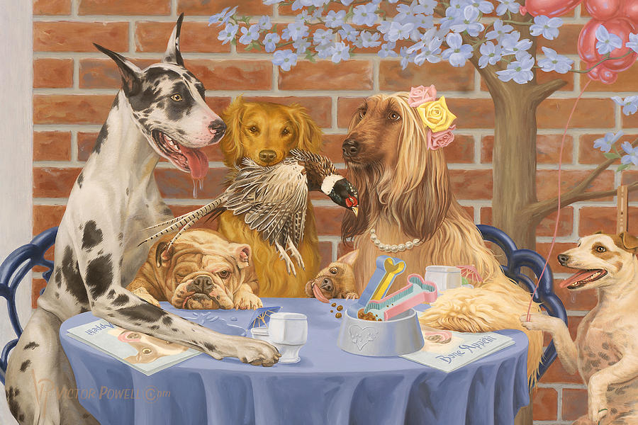 Great Dane Painting - Table 4 Two by Victor Powell