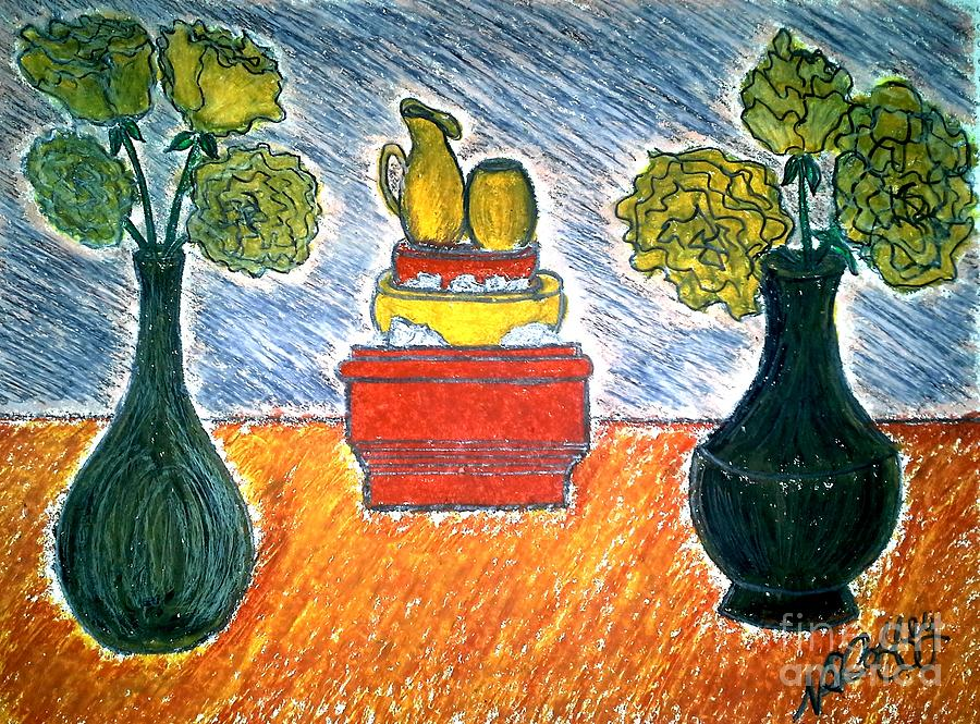 Table And Vases Pastel by Neil Stuart Coffey