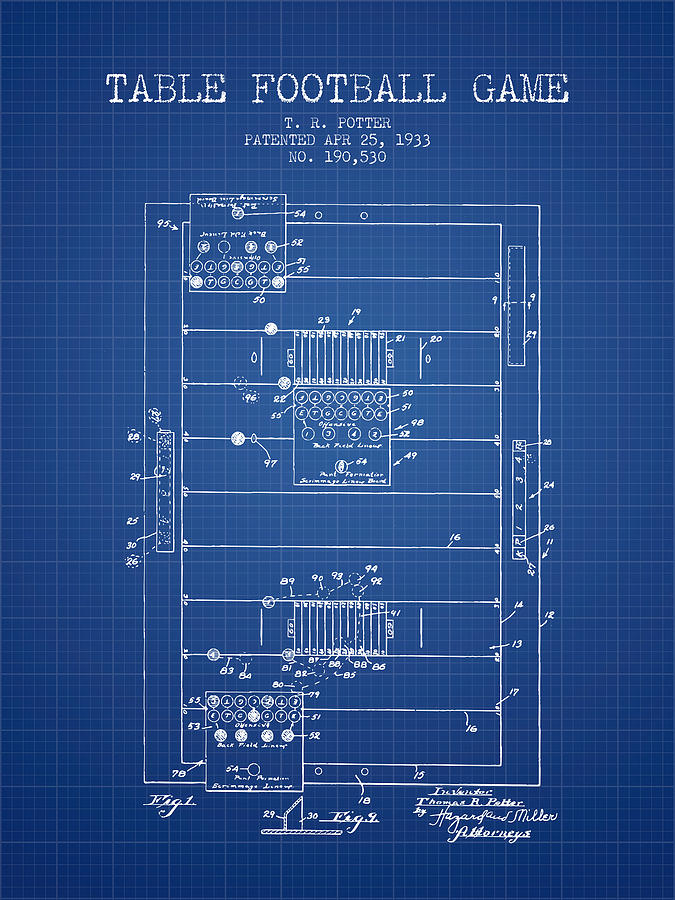 Table Football Game Patent From 1933 - Blueprint Digital Art