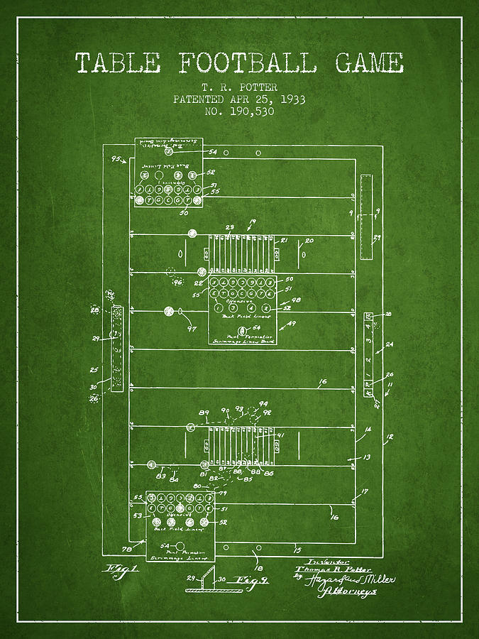 Table Football Game Patent From 1933 - Green Digital Art