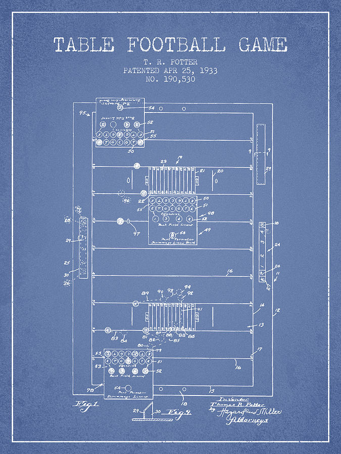 Table Football Game Patent From 1933 - Light Blue Digital Art