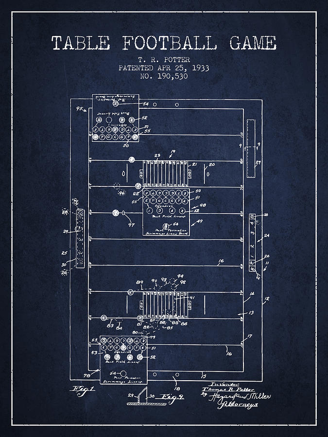 Table Football Game Patent From 1933 - Navy Blue Digital Art
