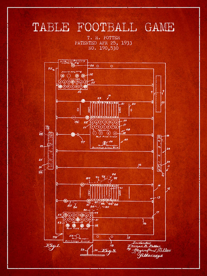 Table Football Game Patent From 1933 - Red Digital Art