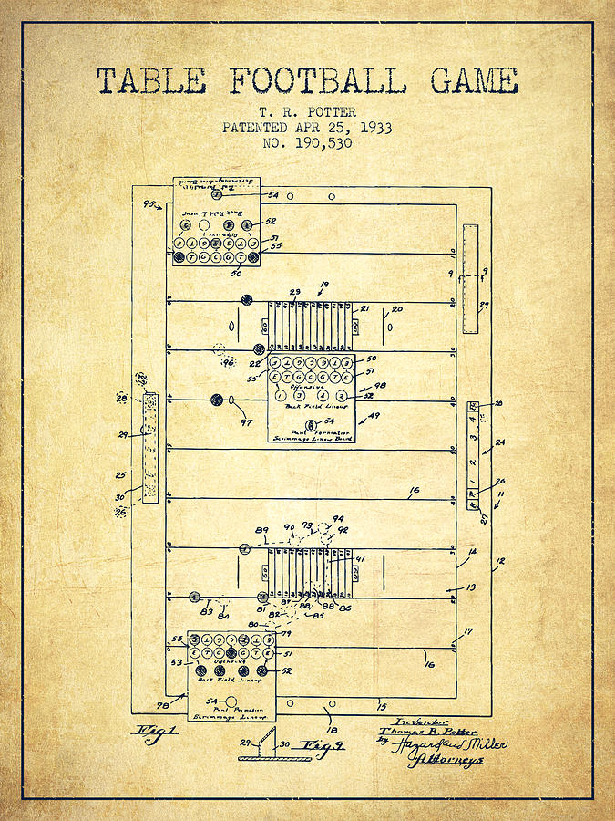 Table Football Game Patent From 1933 - Vintage Drawing