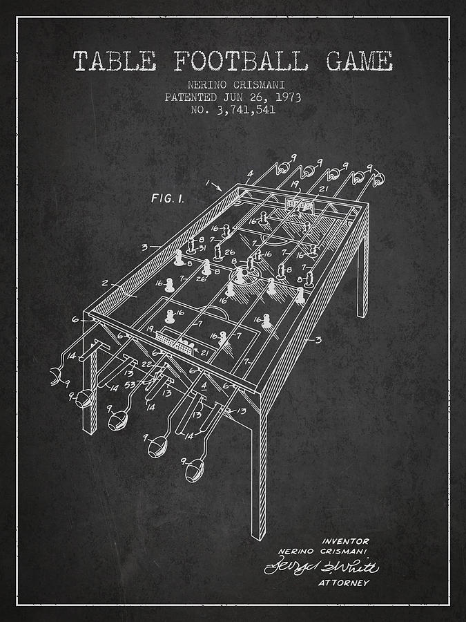 Table Football Game Patent From 1973 - Charcoal Digital Art