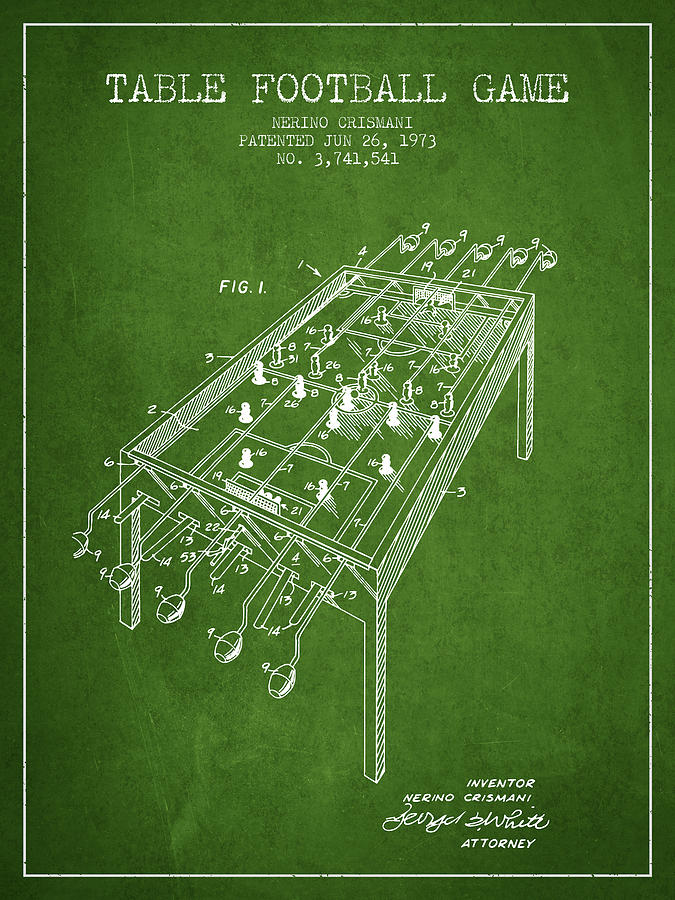 Table Football Game Patent From 1973 - Green Digital Art