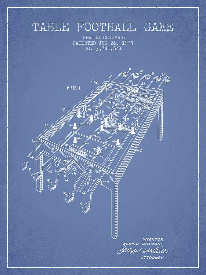 Table Football Game Patent From 1973 - Light Blue Digital Art