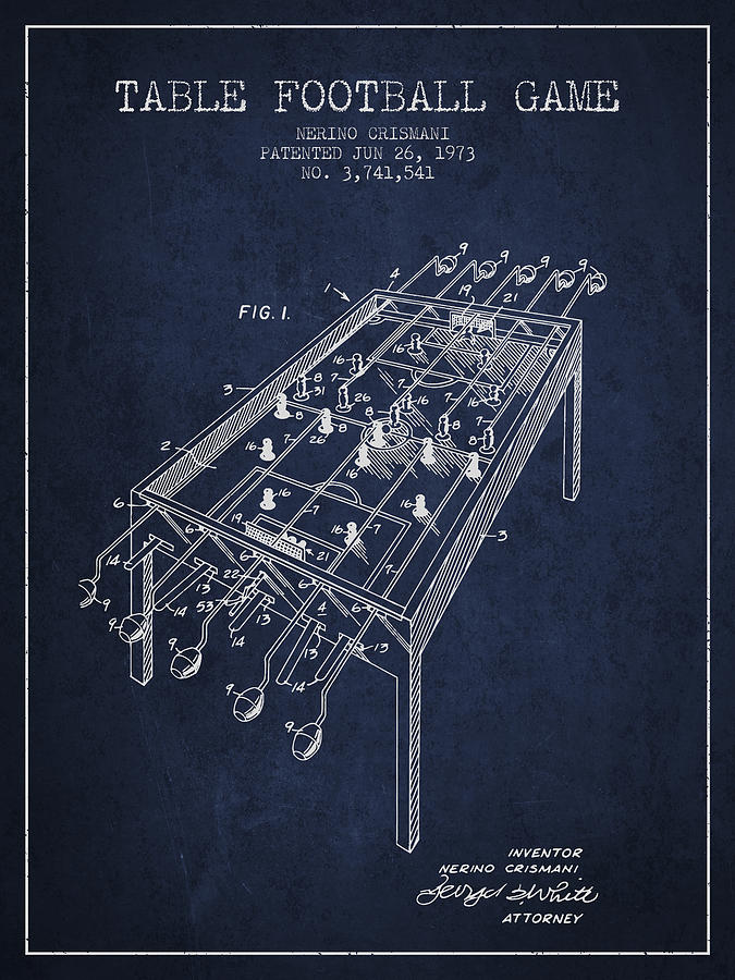 Table Football Game Patent From 1973 - Navy Blue Digital Art