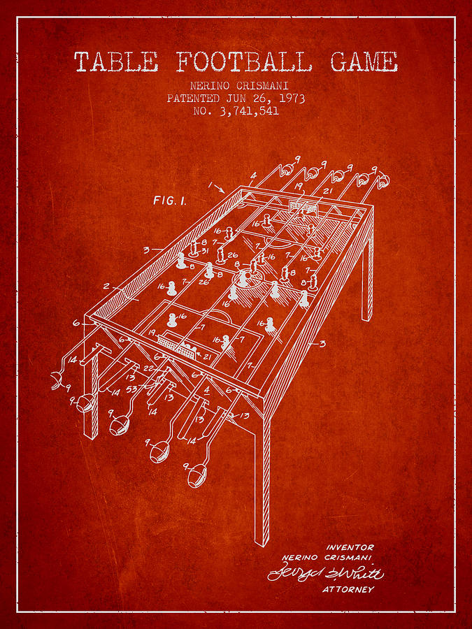 Table Football Game Patent From 1973 - Red Digital Art