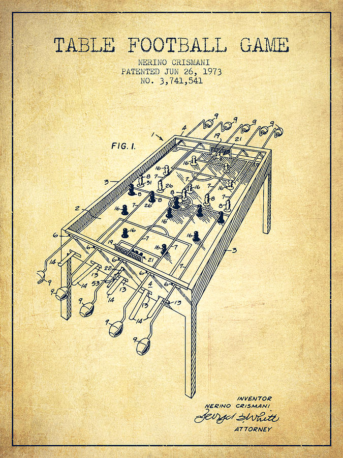 Table Football Game Patent From 1973 - Vintage Digital Art