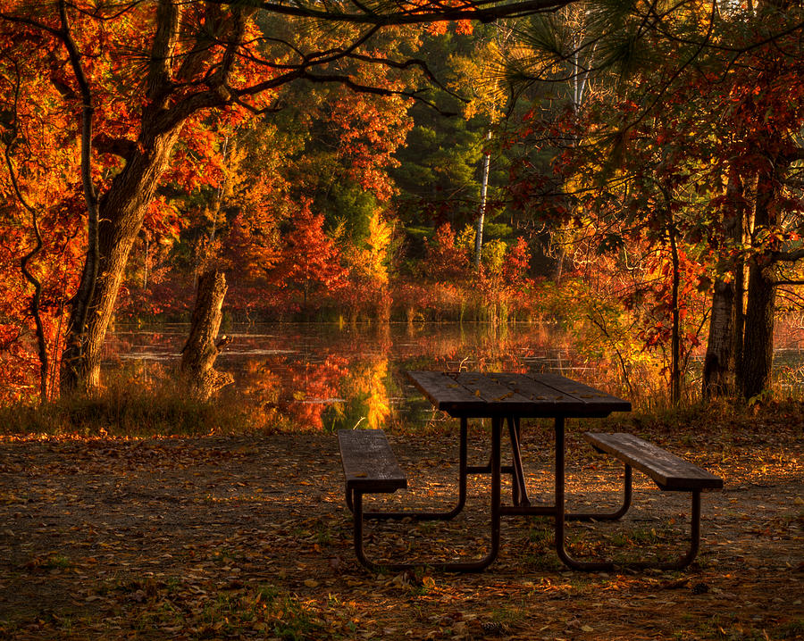 Lake Photograph - Table For Two by Thomas Young