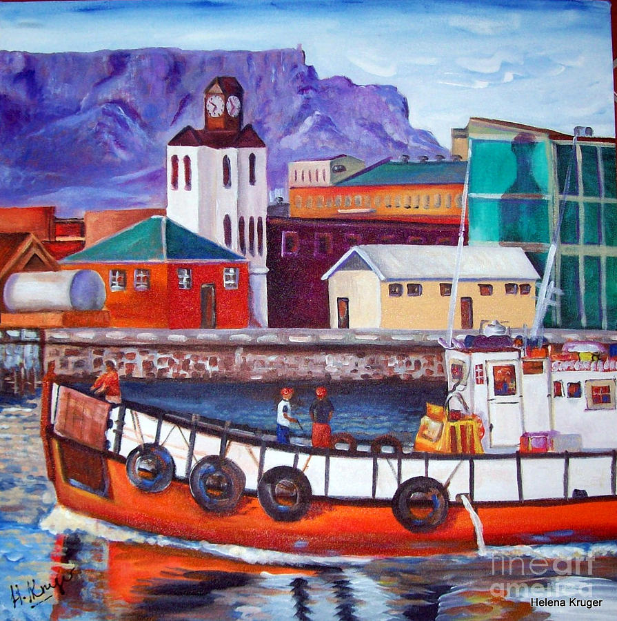 Table mountain in cape town painting by helena kruger for Fish table sweepstakes near me