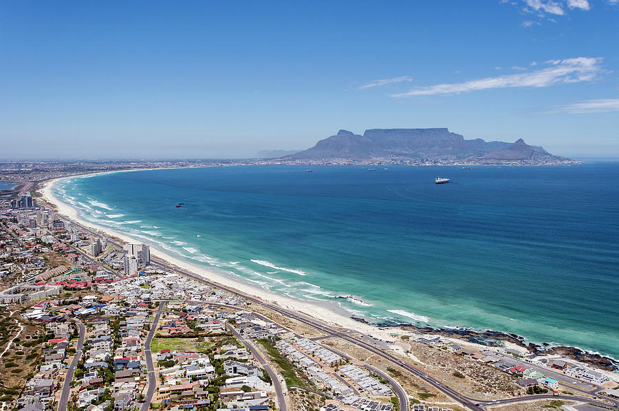 Table Mountain Lies In The Distance Of Photograph by Peter Chadwick