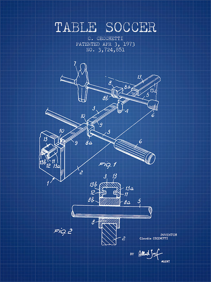 Table Soccer Game Patent From 1973- Blueprint Digital Art