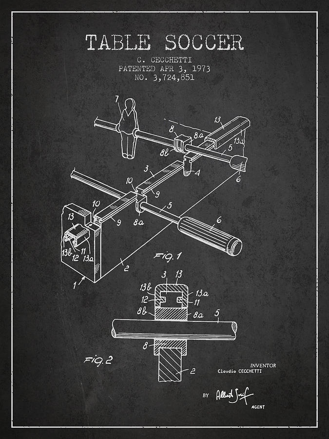 Table Soccer Game Patent From 1973- Charcoal Digital Art
