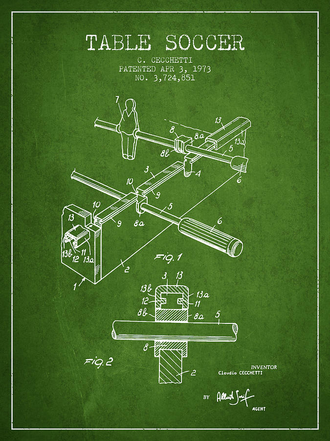 Table Soccer Game Patent From 1973- Green Digital Art