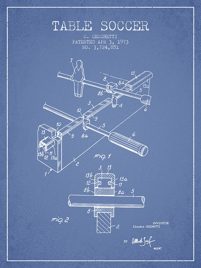 Table Soccer Game Patent From 1973- Light Blue Digital Art