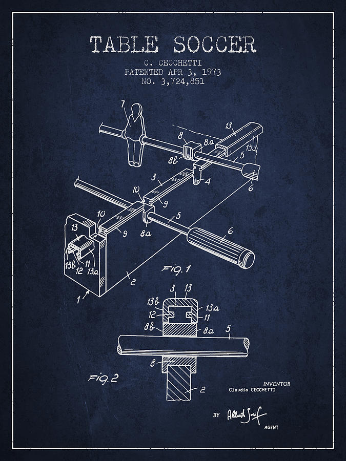 Table Soccer Game Patent From 1973- Navy Blue Digital Art