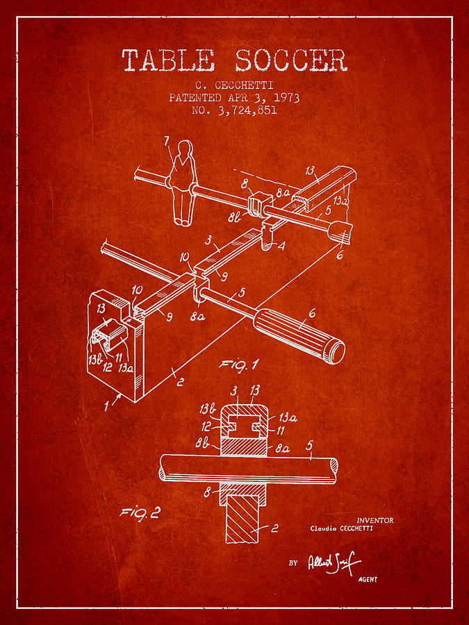 Table Soccer Game Patent From 1973- Red Digital Art