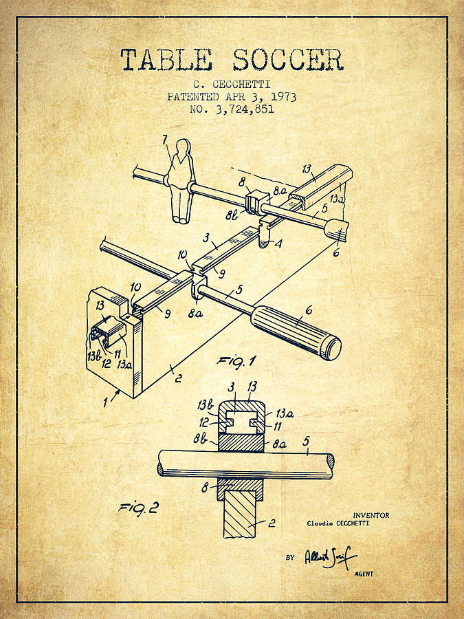 Table Soccer Game Patent From 1973- Vintage Digital Art