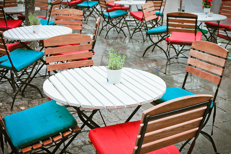 Al Fresco Photograph - Tables And Chairs by Tom Gowanlock