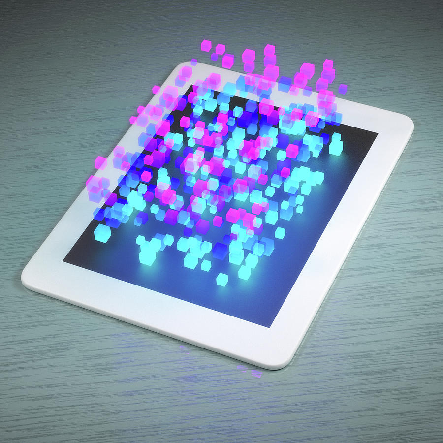 Tablet With Three Dimensional Cubes Digital Art by Maciej Frolow