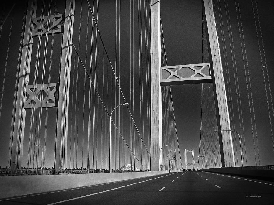 Tacoma Narrows Bridge Photograph - Tacoma Narrows Bridge B W by Connie Fox