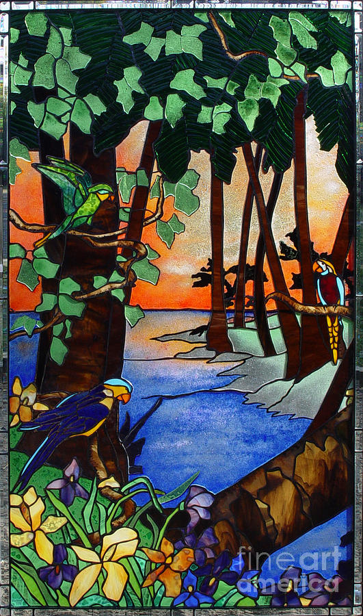 Stained Glass Glass Art - Tahiti Window by Peter Piatt