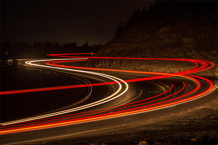 Long Exposure Photograph - Tail Light Trails by Joe Hudspeth
