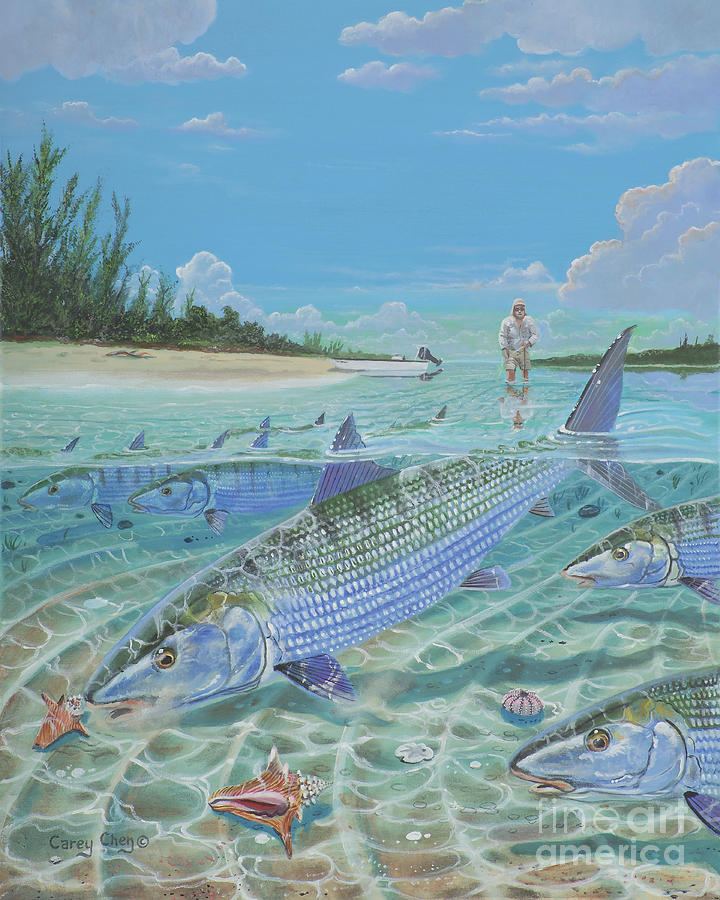 Tailing Bonefish In003 Painting By Carey Chen