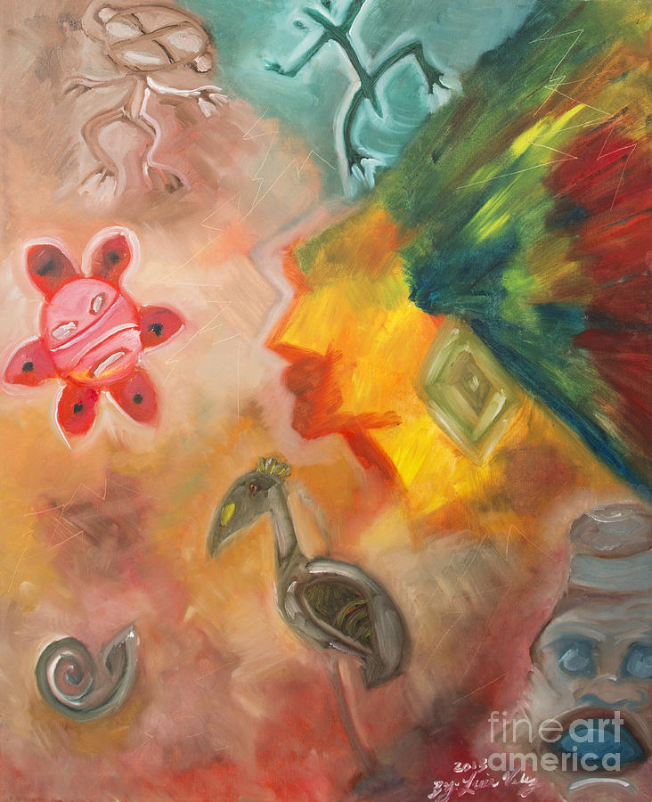 Taino Symbol Painting By Luis Velez