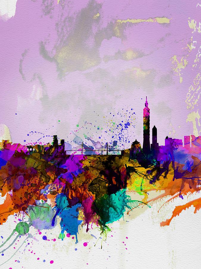 Taipei Painting - Taipei Watercolor Skyline by Naxart Studio