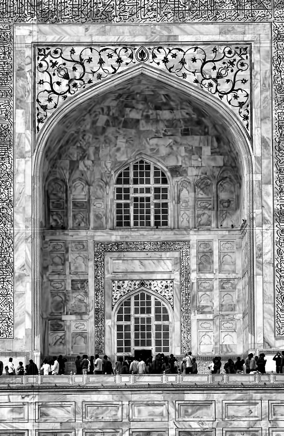 Taj Mahal Photograph - Taj Mahal Close Up In Black And White by Amanda Stadther