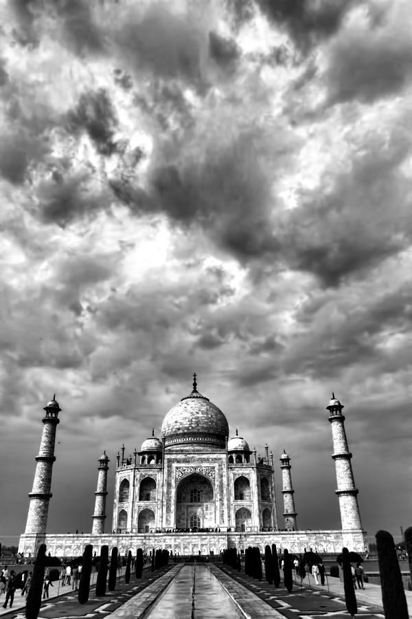 Taj Mahal Photograph - Taj Mahal India In Black And White by Amanda Stadther