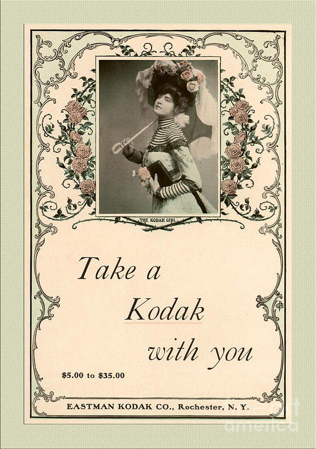 Vintage Mixed Media - Take A Kodak With You by Anne Kitzman