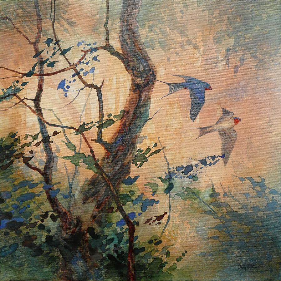 Barn Swallow Painting - Take Flight - Barn Swallows by Floy Zittin